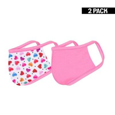Meisjes 2-Pack Mondkapjes Hearts/Felroze 4-9 jaar