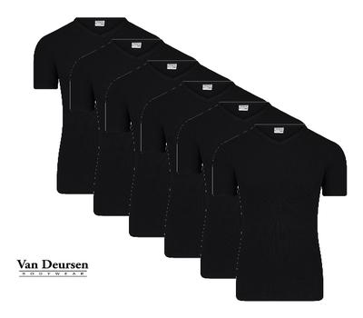 Beeren 6-Pack Heren T-shirts met V-hals en K.M. M3000 Zwart