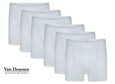Beeren 6-Pack Heren boxershorts met lange pijp Roger Wit