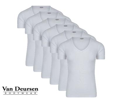 Beeren 6-Pack Heren T-shirts met diepe V-hals en K.M M3000 Wit