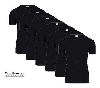 Beeren 6-Pack Heren T-shirts met diepe V-hals en K.M M3000 Zwart