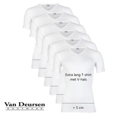 Beeren 6-Pack Extra lange heren T-shirts met V-hals en K.M. M3000 Wit