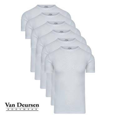 Beeren 6-Pack Heren T-shirts met ronde hals en K.M. M3000 Wit