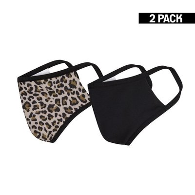 Dames 2-Pack Mondkapjes Leopard/Zwart maat S
