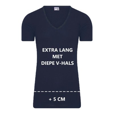 Beeren Extra lang heren T-shirt met Diepe V-hals M3000 Marine