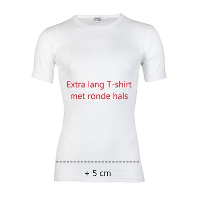 Beeren Extra lang heren T-shirt met ronde hals en K.M M3000 Wit