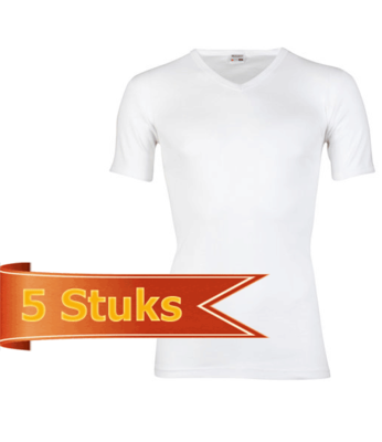Beeren 5-Pack Heren T-shirts met V-hals en K.M. M3000 Wit