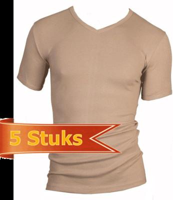 Beeren 5-Pack Heren T-shirts met V-hals en K.M. M3000 Huid