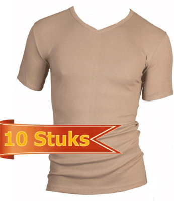 Beeren 10-Pack Heren T-shirts met V-hals en K.M. M3000 Huid